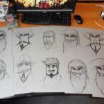 Ten drawings on my desk